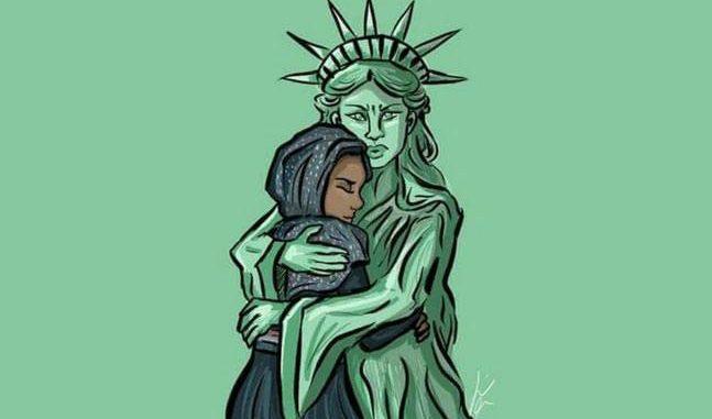 الجرين كارد - تمثال الحرية يحضن امرأة عربية